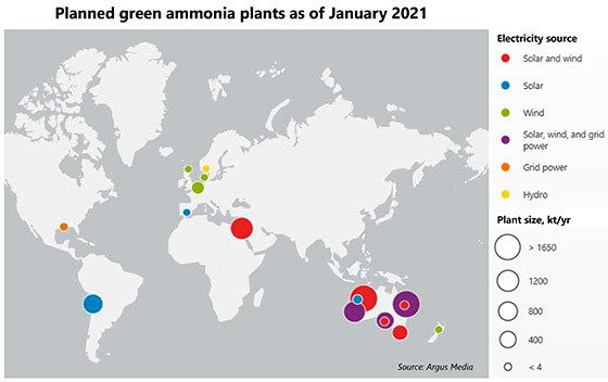 Planned green ammonia plants