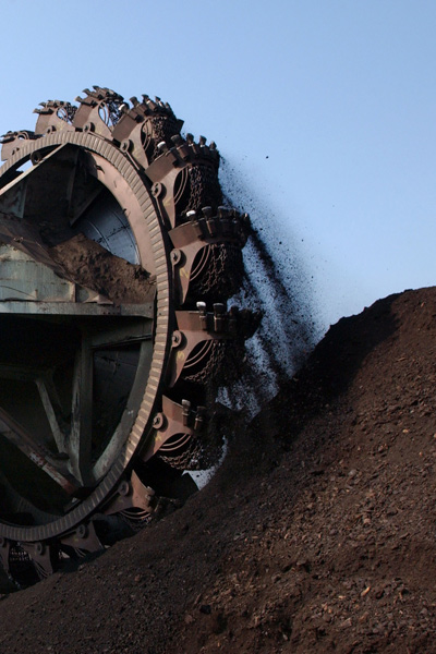 Coal stockpiles moving