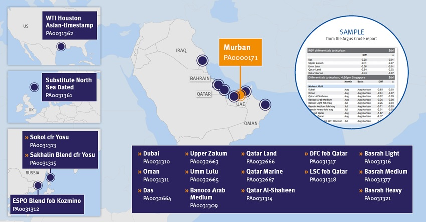 Murban crude price assessments map